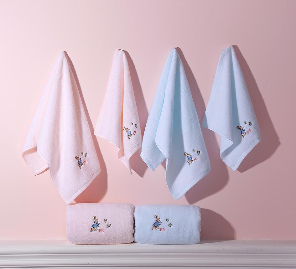 比得兔精梳棉毛巾三件套-粉色/蓝色