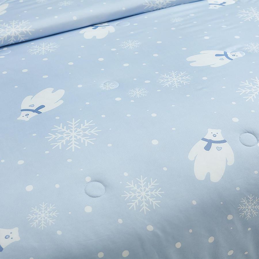 冰爽酷熊凉感空调被-蓝灰