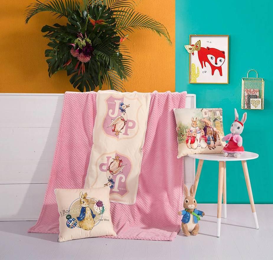 幸福生活抱枕毯/漂亮的小兔抱枕毯/杰米扬鸭抱枕毯